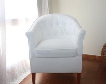 Chester white leatherette armchair