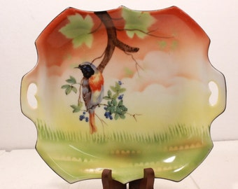 ES Germany Decorative Hand Painted Bird Plate 1890 -1938. Prov Saxe