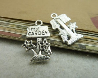 BULK 50 Garden Charms Antique Silver Tone Cute My Garden Signpost