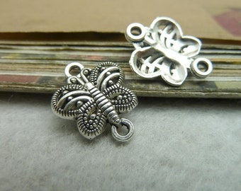 BULK 50 Small Butterfly connect Charms Antique Silver Tone So cute