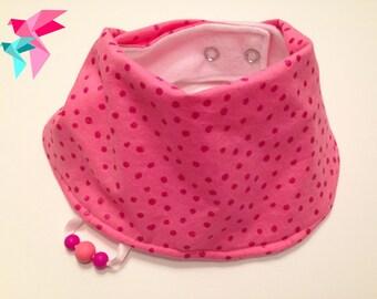 Scarf bib / Bandana rounded / ScarfBib / pink PICOT shiny