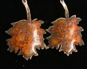 enamel  fine silver earrings