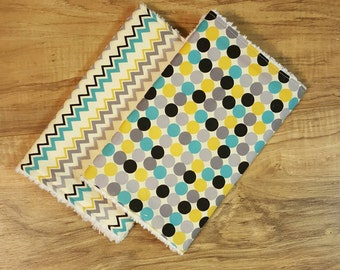 Boy Burp cloths- burpcloths for boys, burp rag, baby shower gift, baby boy, modern baby, set of 2, chenille burpcloth