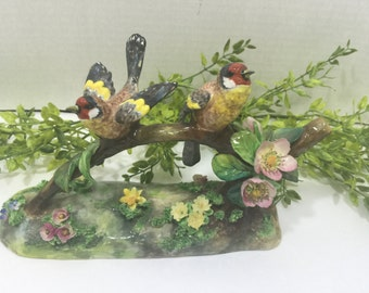 Pair of Crown Staffordshire Birds by J. T. Jones Infamous English Artist