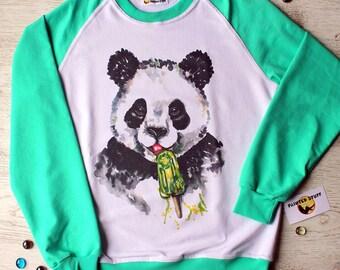 "Sweatshirt fabrics with the author print ""Panda"""