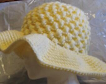 Floppy Brim Sun Hat Hand Crocheted