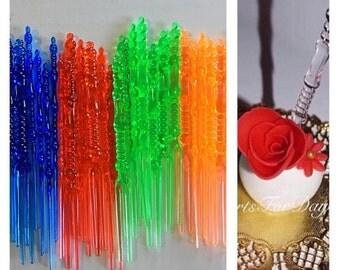 "Set of 50 - 4"" Designed Color Sticks. Cake Pop Sticks. Rice Krispy Sticks."