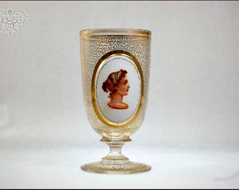 Antique Bohemian Moser Art Glass Portrait Gold Goblet Chalice