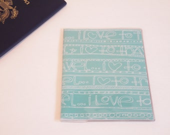 Love to Travel Passport Cover Quote Light Blue, Travel Words. Passport  Sleeve, Case, Holder