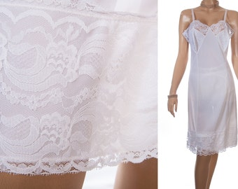As new really feminine silky soft sheer ivory white nylon and delicate matching deep lace detail 1960's vintage full slip petticoat- S273
