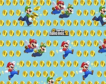 Mario brothers fabric - mario -  fabric- material - sewing supply -notion - bty - 1 yard
