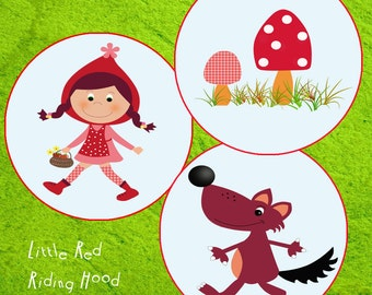 LITTLE RED RIDING Hood Cupcake Toppers, Little Red Riding Hood birthday, Little Red Riding Hood Party, Little Red Riding Hood Invitations