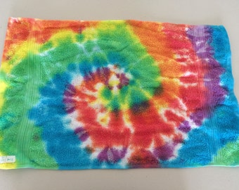 Rainbow tie dyed hand towels