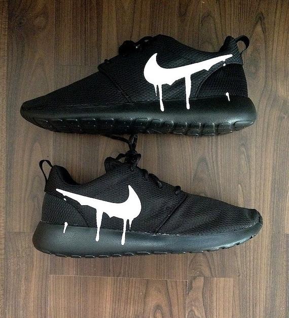 76d617ac52f5 best Nike Roshe Run Triple Black with Custom White by DenisCustoms ...