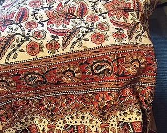 Indian block print bedspread sheet with elephants