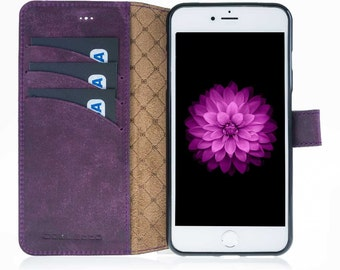 iPhone 7 Plus Wallet Case, iPhone 7 Plus Genuine Leather Case with Magnetic Closure, Perfect for 3+ Cards and Cash, 7 Plus in AnticPurple