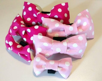 Pink Poke a Dot Spring Dog Puppy Collar Bow Tie Accessories