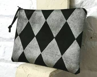 Metallic silver and black harlequin  blockprinted pouch  - in gold or silver on black twill