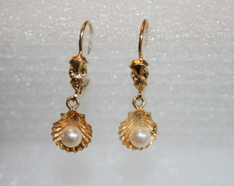 Vintage pearl earrings; gold plated shell & pearl earrings; faux pearl earrings; lever-back earrings