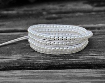 Wrap Bracelet Summer Bracelet White Beaded Bracelet Charm Bracelet 4mm Beaded Bracelet with White Wax Cord