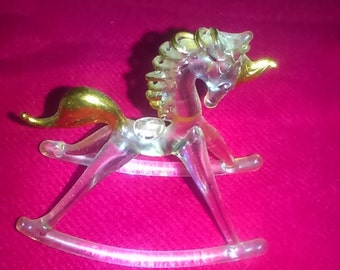 Unicorn Hand Blown Glass Vintage Figurine