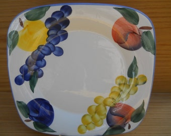 Six Dansk Tuscany Fruit Motif Collection Square Dinner Plates