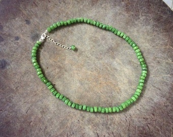 Knotted Sterling Silver Natural Canadian Jade 6MM Wheel Beaded Necklace