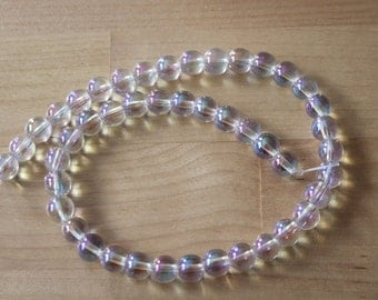 Clear Quartz Mystic Plated 8mm Round Beads