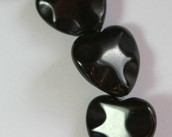 Black Obsidian Wavy Heart Beads - Full Strand