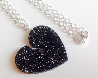 Sale | Broken Heart | Love  | Heart | Emo | Black | Glitter | Laser Cut | Acrylic | Necklace