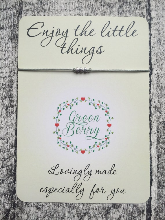 """Three Tiny Heart charm String Bracelet on """"Enjoy the little things"""" quote card madebygreenberry wish bracelet"""