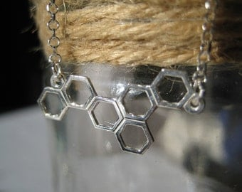 Sterling Silver Honeycomb Geometric Necklace