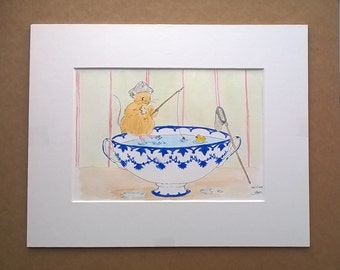 Mouse Fishing watercolour original painting
