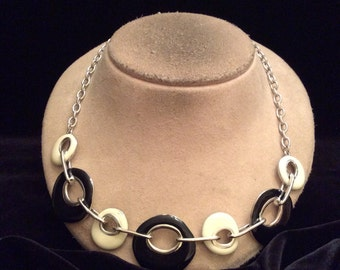 Vintage White & Black Enameled Necklace