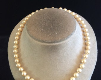 Vintage Off White Glass Faux Pearl Necklace