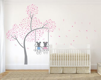 Mickey Inspired Swing and Tree Wall Sticker, Nursery Wall Art Vinyl Decal