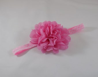 Large Pink Chiffon Flower Headband