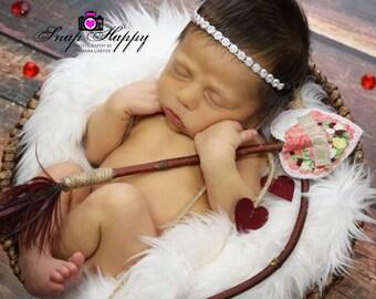 Valentine bow, Newborn photo props, Valentine props, bow and arrow, valentine photo props, cupid arrows, valentine photography props