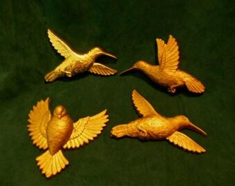 Hummingbird Vintage Accent Wall Hangings Décor Birds Gold Homco Burwood Retro Dove Songbird