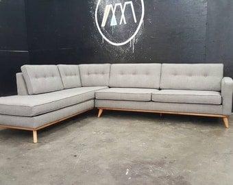 Mid Century Modern Sectional Chaise Sofa custom built