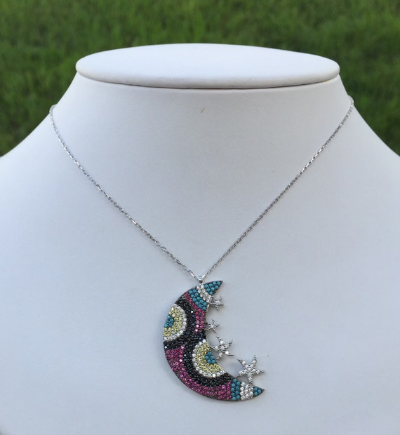 Sterling Silver 925 Moon & Stars necklace