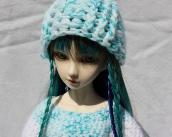 Blue Crochet BJD Hat, Size 7-8 Ball Joint Doll Hat, MSD Winter Hat, Doll Beanie, Light Blue Doll Toboggan hat, Fits 8 inch head