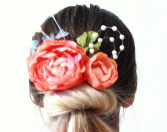 Pink peony flower hair clip