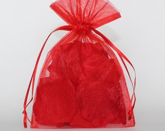 Organza Gift Bags, Red Sheer Favor Bags with Drawstring for Packaging, pack of 50