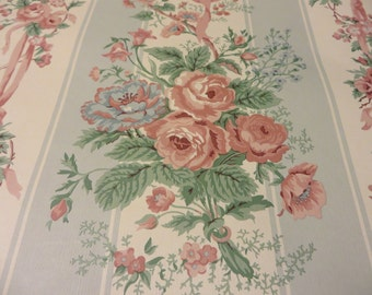 "new price!!! Cabbage Roses and Bows Ivory and Blue Stripe Vintage Wallpaper Double Rolls 20-3/4"" wide X 11 Yards New Old Stock"