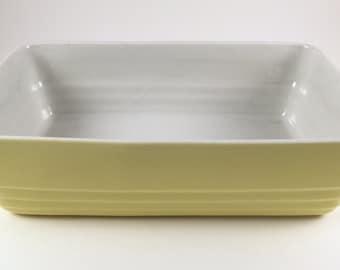 Vintage Hall China Yellow Refrigerator Dish, Westinghouse, Mid Century Kitchen, Art Deco Design Casserole Dish