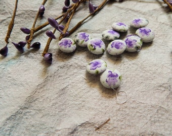 Set of 10 Fabric Buttons, 10mm buttons, Floral Fabric Buttons, Decorative Buttons, Fabric Covered Buttons, White Buttons