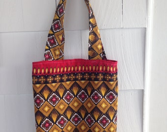 Earthy Red Flower Reversible Tote