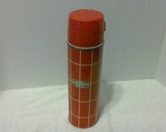 Vintage Metal Thermos Red and White
