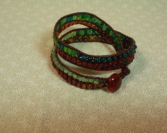 Wrap Bracelet, Forest Green and Brown